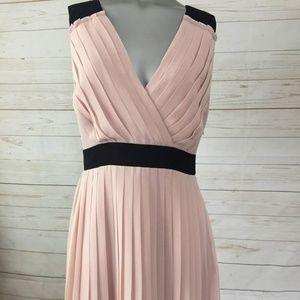 Elle 8 Pleated Cocktail Tea Dress Blush Pink
